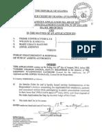 COURT ORDER -Prime Contractors Ltd - PPDA