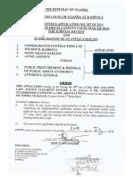 COURT ORDER - Consolidated Contractors Ltd - PPDA
