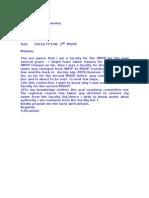 Letter Seeking Clarification