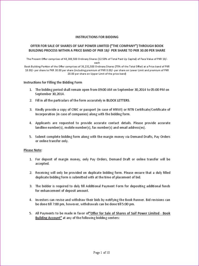 saif group bid forms margin finance securities finance