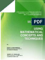 Module 5 Using Mathematical Techniques