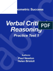 Psychometric Success Verbal Ability - Critical Reasoning Practice Test 1