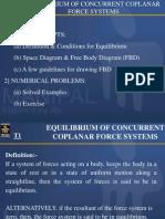 Equillibrium of Coplanar Concurrent Forces