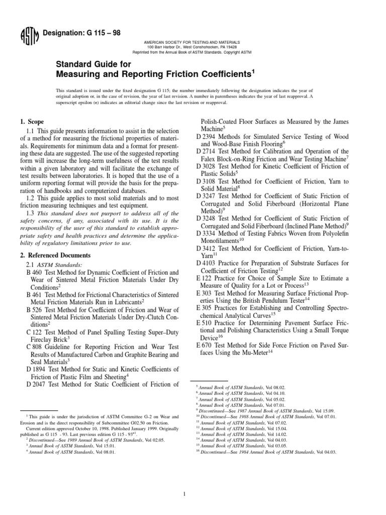 ASTM G115-10 pdf | Friction | Wear