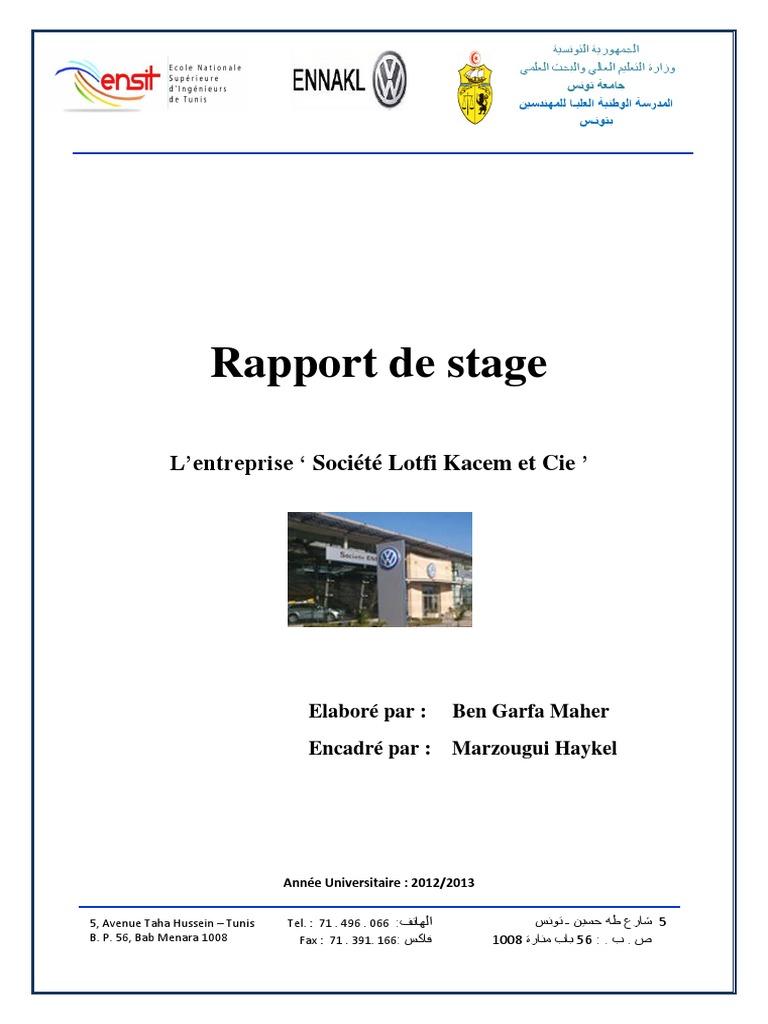 Rapport de - Page de garde rapport de stage open office ...