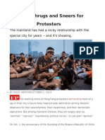 In China, Shrugs and Sneers for Hong Kong Protesters