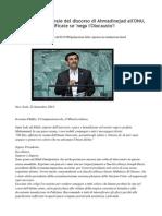 Traduzione Integrale Del Discorso Di Ahmadinejad All'ONU( 22 Settembre 2011) , Verificate Se 'Nega l'Olocausto'!