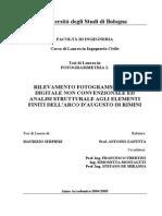 Rilevamento Fotogrammetrico Digitale Non Convenzionale Ed Analisi Strutturale Agli Elementi Finiti Dell'Arco d'Augusto Di Rimini - Ing. Maurizio Serpieri