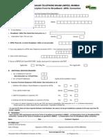 Mahanagar Telephone Nigam Limited, Mumbai Subscription Form for Broadband /