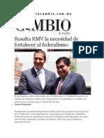 01-10-2014 Diario Matutino Cambio de Puebla - Resalta RMV la necesidad de fortalecer al federalismo.