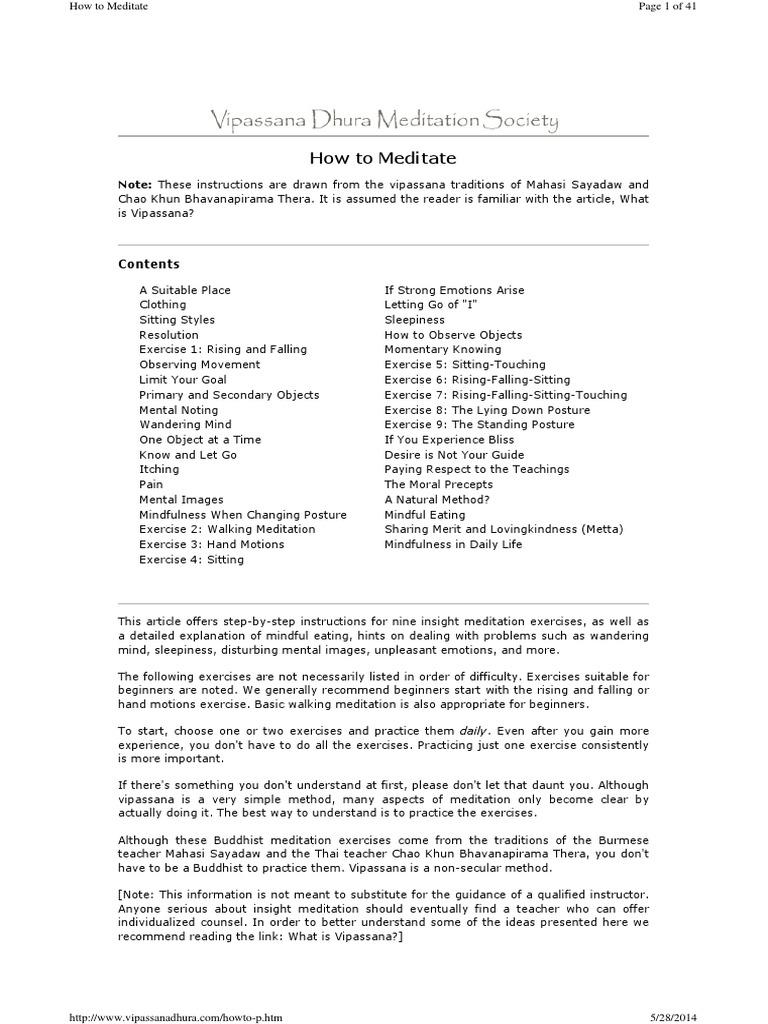 vipassana vs mindfulness