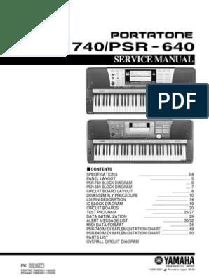 Yamaha Psr 640 Psr 740 | Dynamic Random Access Memory | Input/Output