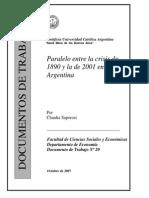 Paralelo entre la crisis de 1890 y la de 2001 en Argentina