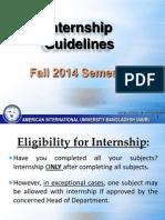 Internship Guidelines Fall 2014 Aiub
