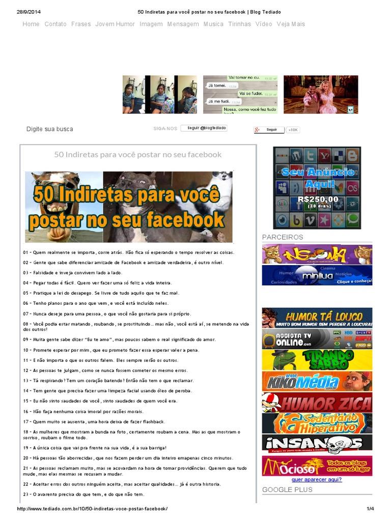 50 Indiretas Para Você Postar No Seu Facebook Blog Tediadopdf