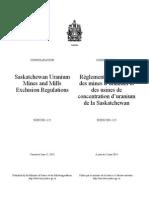 SOR-2001-115 Saskatchewan Uranium Mines and Mills Exclusion Regulations.pdf