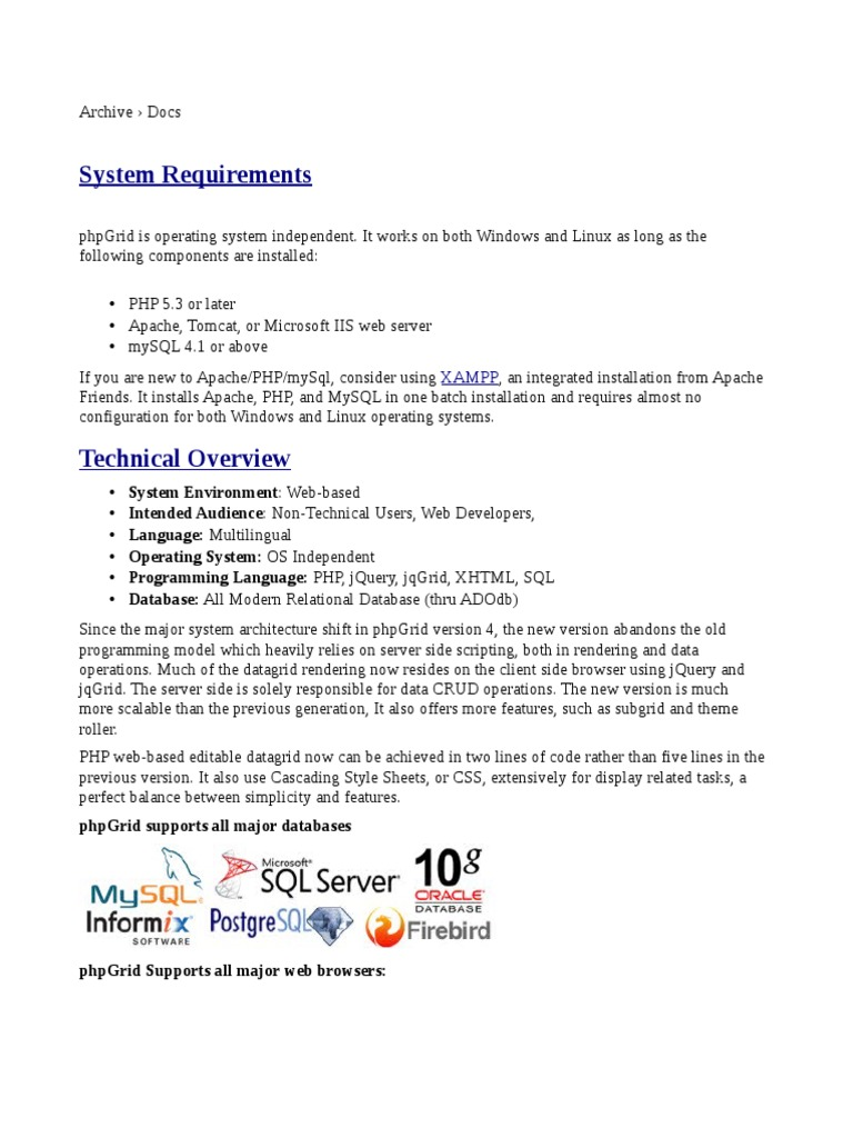 System Requirements: Xampp