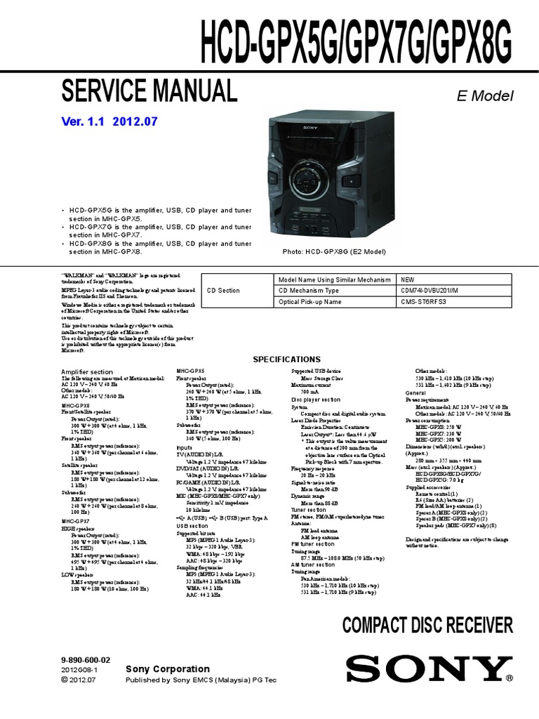 Sony - HCD - GPX5G - GPX7G - GPX8G ver 1 1 pdf   Frequency