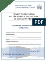 Segunda Prueba de Avance de Matematica - Segundo Ano de Bachilllerato - PRAEM 2012.pdf