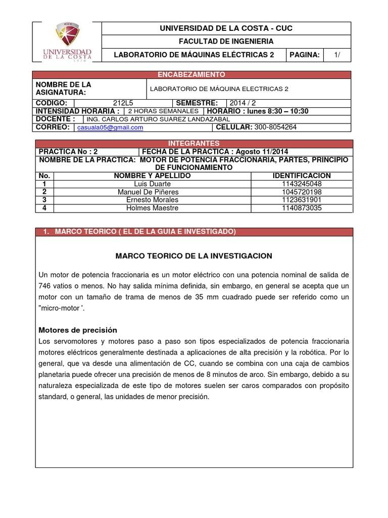 INFORME_LAB MAQUINAS 2-MOTOR DE POTENCIA FRACCIONARIA, PARTES ...