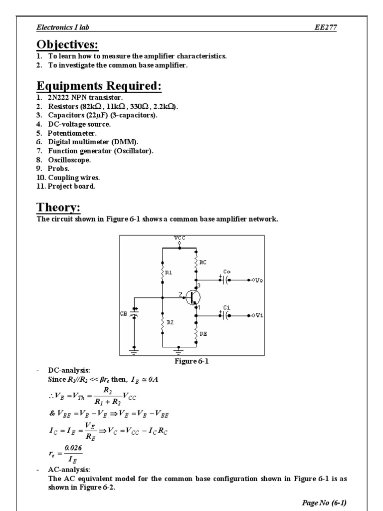 Common Base Amplifier | Amplifier | Electronic Circuits