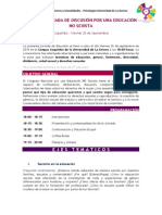 PRIMERA JORNADA DE DISCUSIÓN POR UNA EDUCACIÓN NO SEXISTA Coquimbo - Viernes 26 de Septiembre
