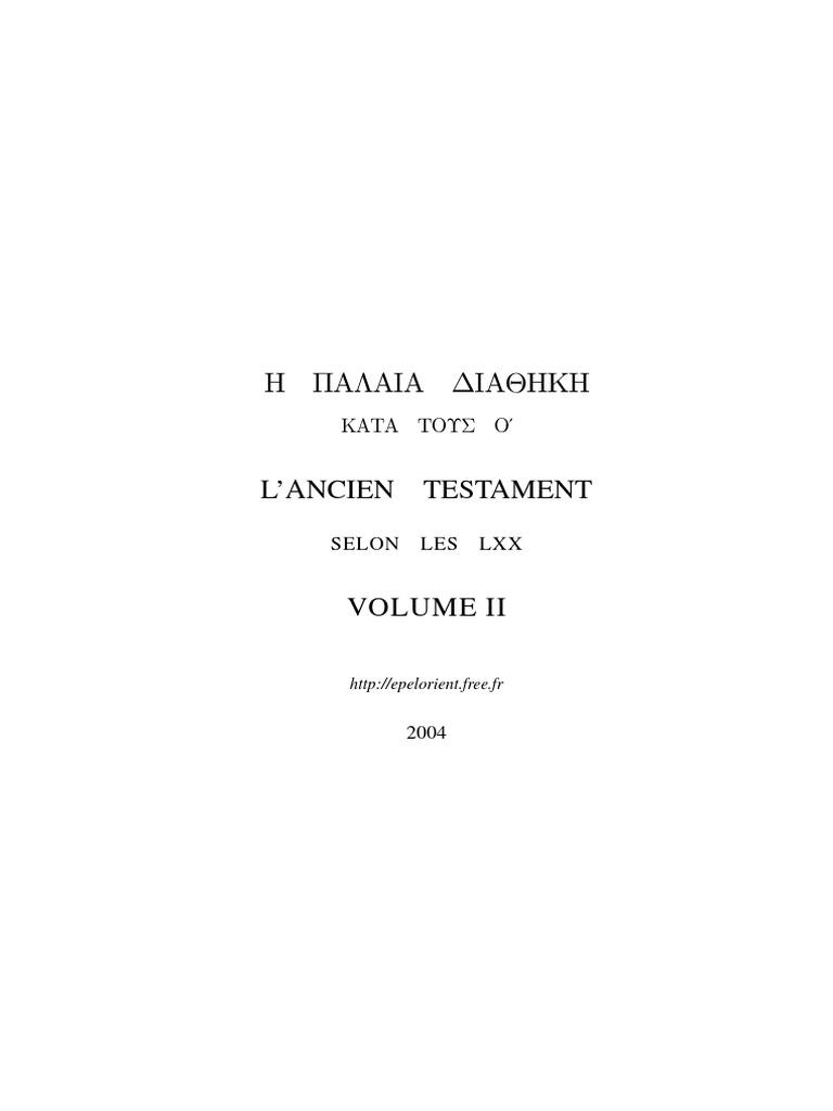 OT LXX Septuagint Greek French & English Part 2  Septante Grec