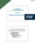 Atributos de los productos manufacturados