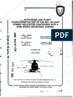 Airworthiness and flight characteristics of the JOH-6A light combat helicopter configured with a wire strike protection system