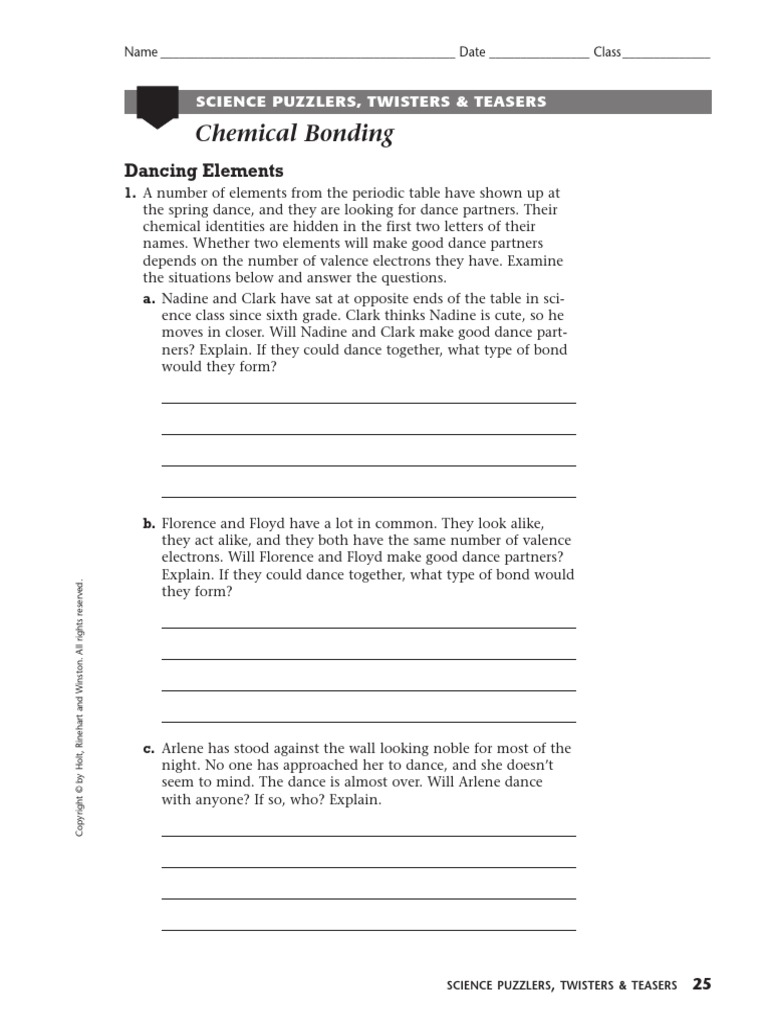 Worksheets Holt Science And Technology Worksheets science puz twist teas ion ionic bonding
