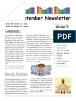 Grade 5 September Newsletter 2014