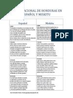 HIMNO NACIONAL DE HONDURAS EN ESPAÑOL Y MISKITU.docx