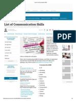 List of Communication Skills