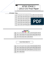 Std X -NTSE (2013-14) Stage 1 MAT,SAT & Language  Answer Key