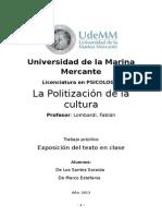 LA POLITIZACION DE LA CULTURA TP.doc