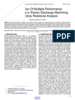 Optimization of Multiple Performance Characteristics in Electro Discharge Machining Using Grey Relational Analysis