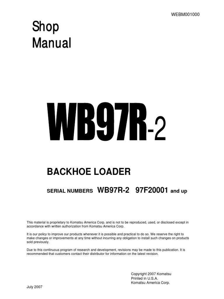 Backhoe+Loader+WB97R+Shop+manual.pdf | Transmission (Mechanics) | Motor Oil
