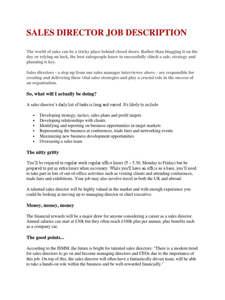job description of director of sales