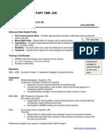 SampleResume EDU Part Time Job