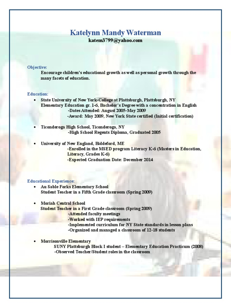 Kates updated resume primary education teachers 1betcityfo Image collections