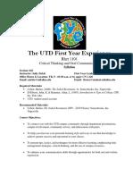 UT Dallas Syllabus for rhet1101.043.09f taught by Sally Zirkle (szirkle)