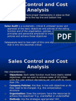 Sales Control and Cost Analysis