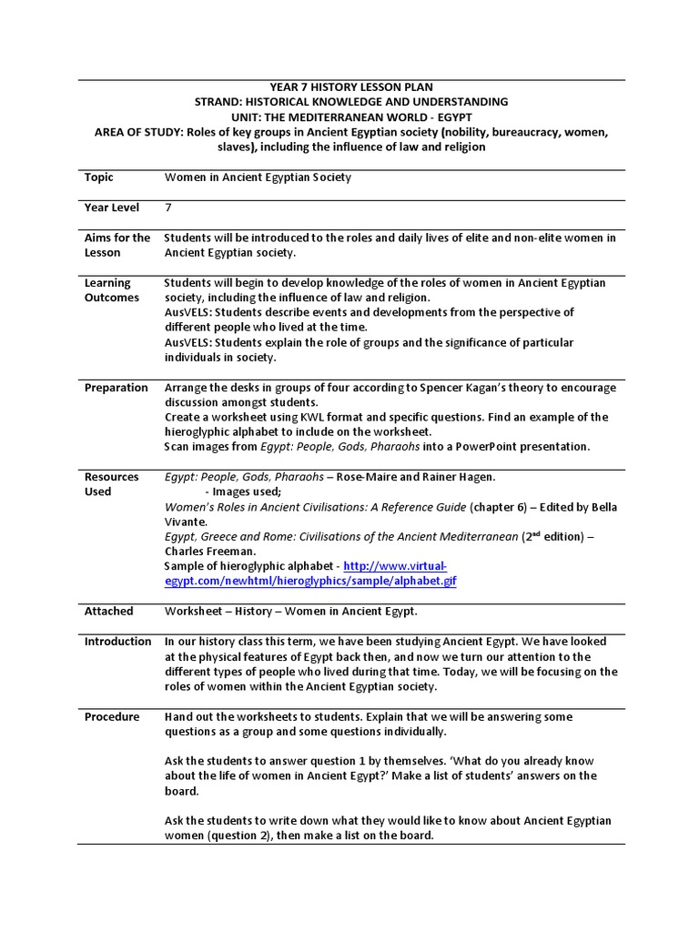 3 5 2 teaching humanities microteaching lesson plan and – Ancient Egypt Worksheet