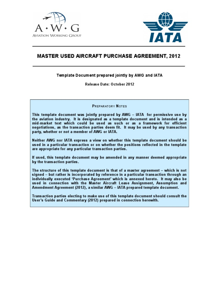 Ny new master used aircraft purchase agreementc lease indemnity platinumwayz