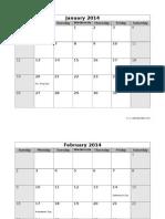 2014 monthly sun us holidays landscape