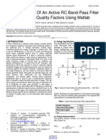 Implementation of an Active Rc Band Pass Filter at Varying Quality Factors Using Matlab