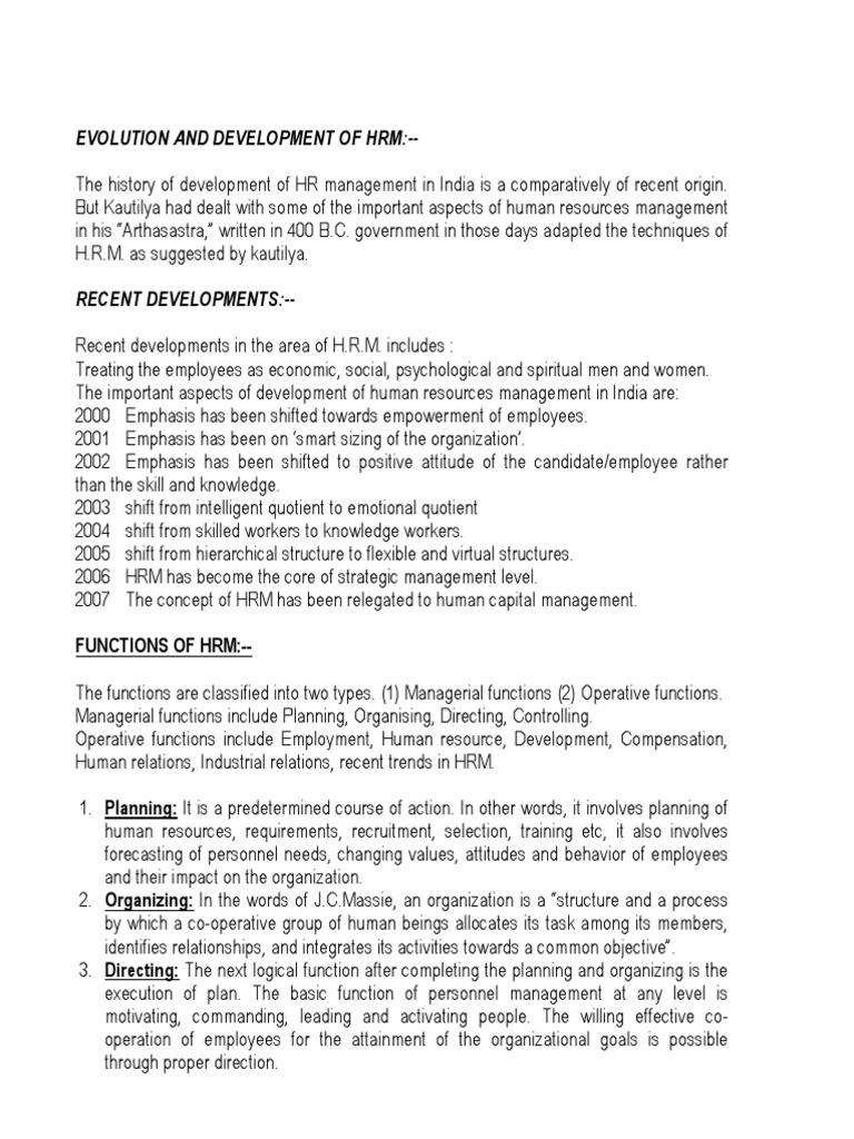 origin and development of human resource management