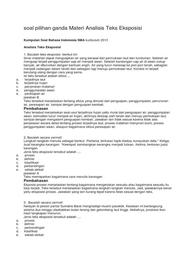 Contoh Soal Pilihan Ganda Teks Laporan Hasil Observasi Kelas 10 Contoh Soal Terbaru