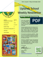 Uplands School Weekly Newsletter - Issue 8 - 3 Oct 2014
