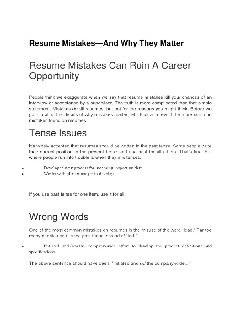 Magnificent Resume Tense Ing Pictures Inspiration - Entry Level ...